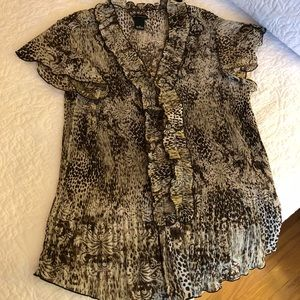 EUC New Directions Animal Print Pleated SS Top 2X